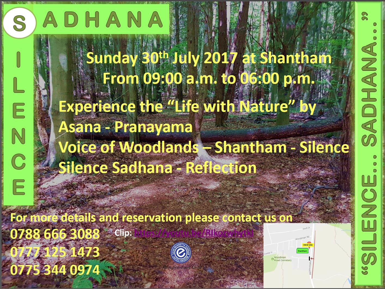 Silence Sadhana at SHANTHAM.